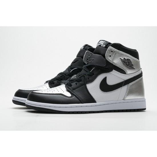 Air Jordan 1 High Silver Toe Black Silver CD0461-001 Shoes