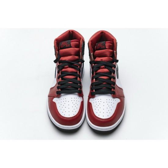 Air Jordan 1 Satin Snakeskin Red Black White CD0461-601 Shoes