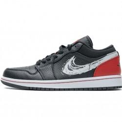 """Air Jordan 1 Low """"Brushstroke Swoosh"""" Black Red DA4659-001 40-46"""