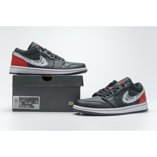 Air Jordan 1 Low Brushstroke Swoosh Black Red DA4659-001 40-46 Shoes