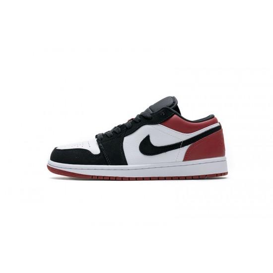 Air Jordan 1 Low Black Toe Black White Red 553558-116 Shoes