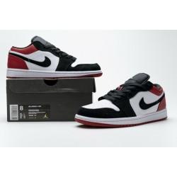 """Air Jordan 1 Low """"Black Toe"""" Black White Red 553558-116"""