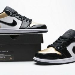 "Air Jordan 1 Low ""Gold Toe"" Black White Gold CQ9447-700"