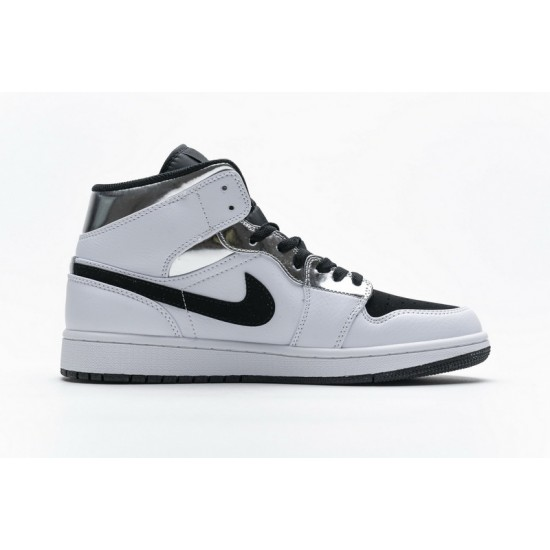 Air Jordan 1 Mid Alternate Think White Black Silver 554724-121 Shoes