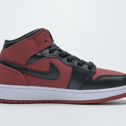 "Air Jordan 1 Mid ""Banned Gym Red"" Red Black 554725-610 36-46"
