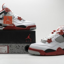 "Air Jordan 4 Retro ""Fire Red"" White Black Red 308497-110"