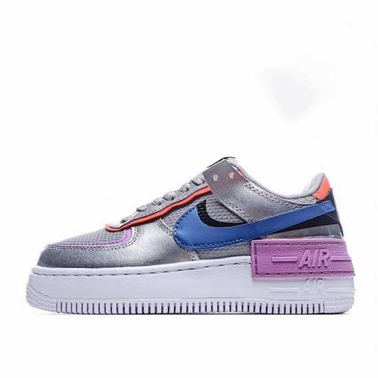 Nike Air Force 1 Shadow Metallic Silver Silver Blue Purple CW6030-001 Shoes