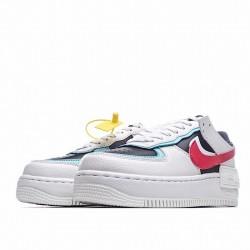 """Nike Air Force 1 Shadow """"White Bleached Aqua"""" White Black Red DA4291-100"""