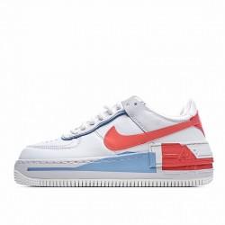 """Nike Air Force 1 Shadow """"Team Orange Blue"""" White Blue Red CQ9503-100"""
