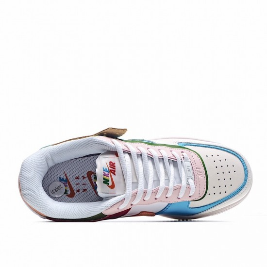 Nike Air Force 1 Shadow Multi Color White Blue Red CW2630-101 Shoes