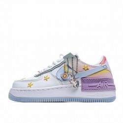 "Nike Air Force 1 Shadow ""White Hydrogen Blue"" White Purple Blue CW2630-141"