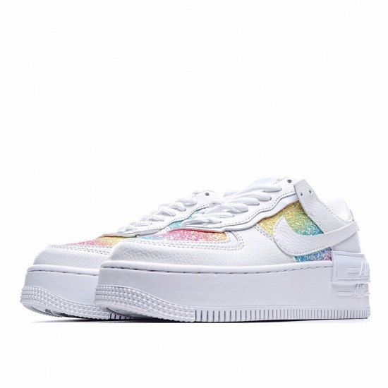 Nike Air Force 1 Shadow Easter White Rainbow CW0367-100 Shoes