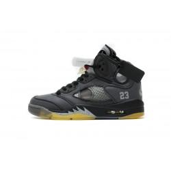 "Off-White x Air Jordan 5 ""Muslin"" Black Grey CT8480-001"
