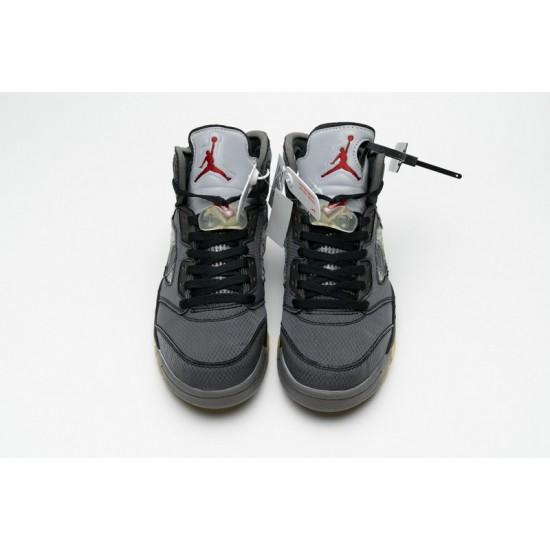 Off-White x Air Jordan 5 Muslin Black Grey CT8480-001 Shoes