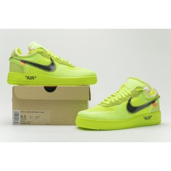 """Off-White x Nike Air Force 1 Low """"Volt"""" Green Black AO4606-700"""