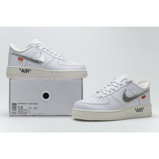 Off-White x Nike Air Force 1 07 Low Conplex Con White Silver AO4297-100 Shoes